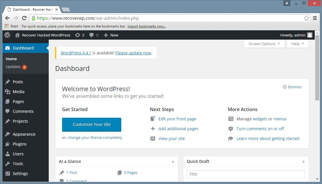 WordPress Administrative Panel