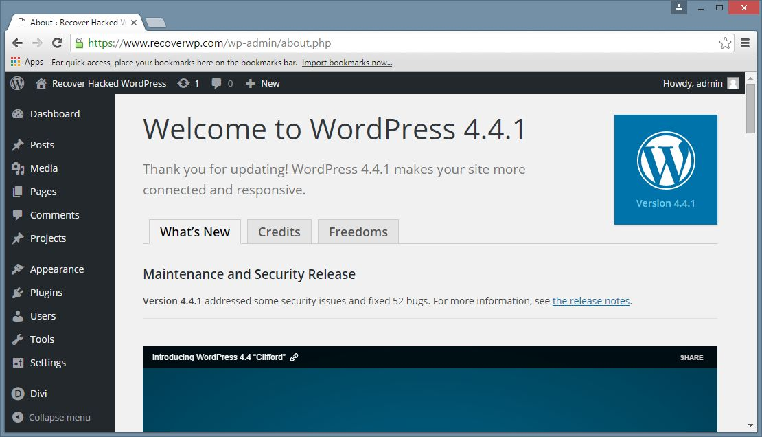 WordPress core updated