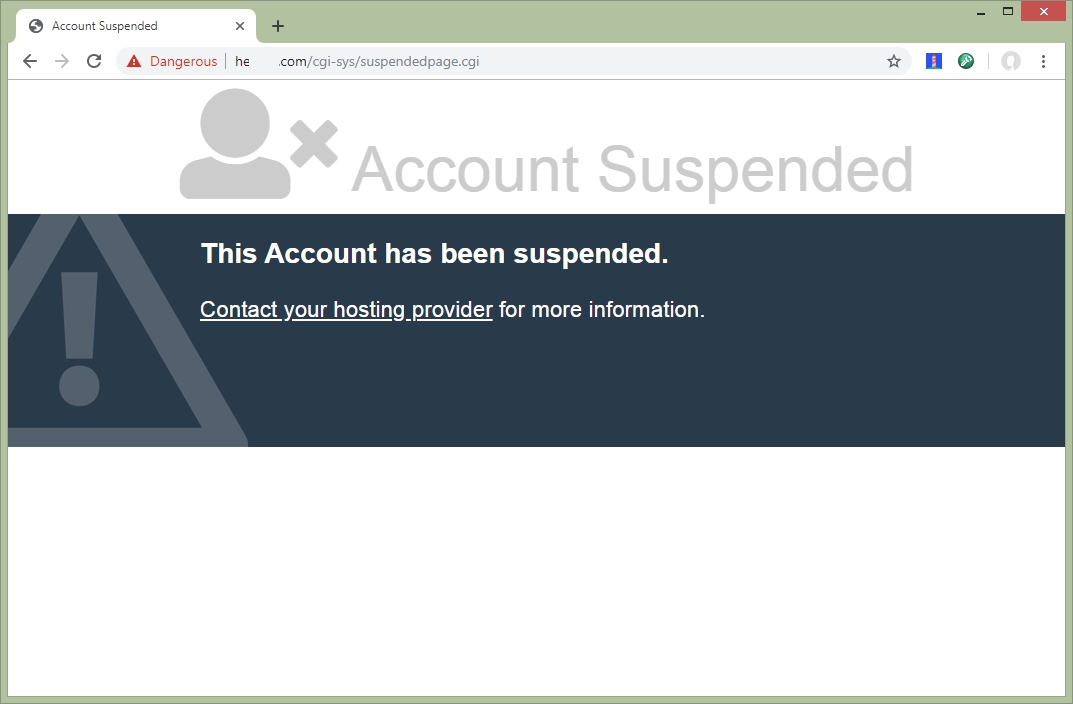 Account Suspended by Provider